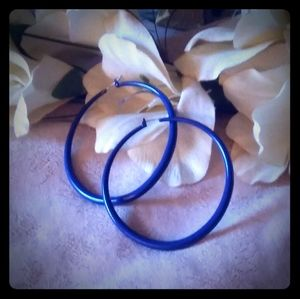 Vintage Large Blue Enamel Hoop Earrings